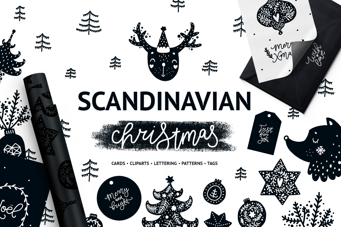 Scandinavian Christmas.Scandinavian Christmas Black White Design Cuts