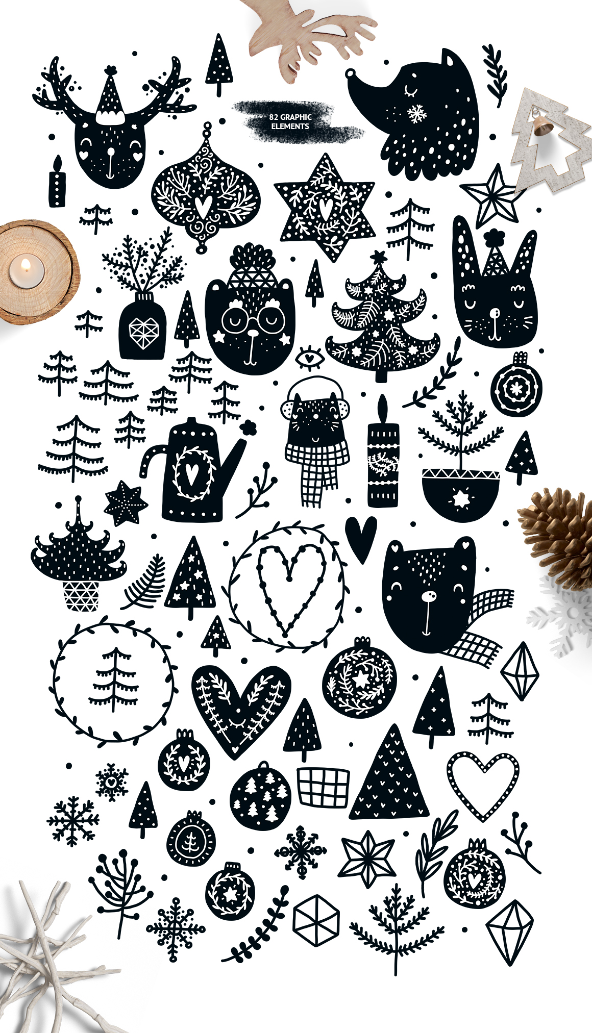 Scandinavian Christmas Black & White