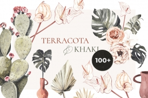Terracota and Khaki Boho Tropical Set