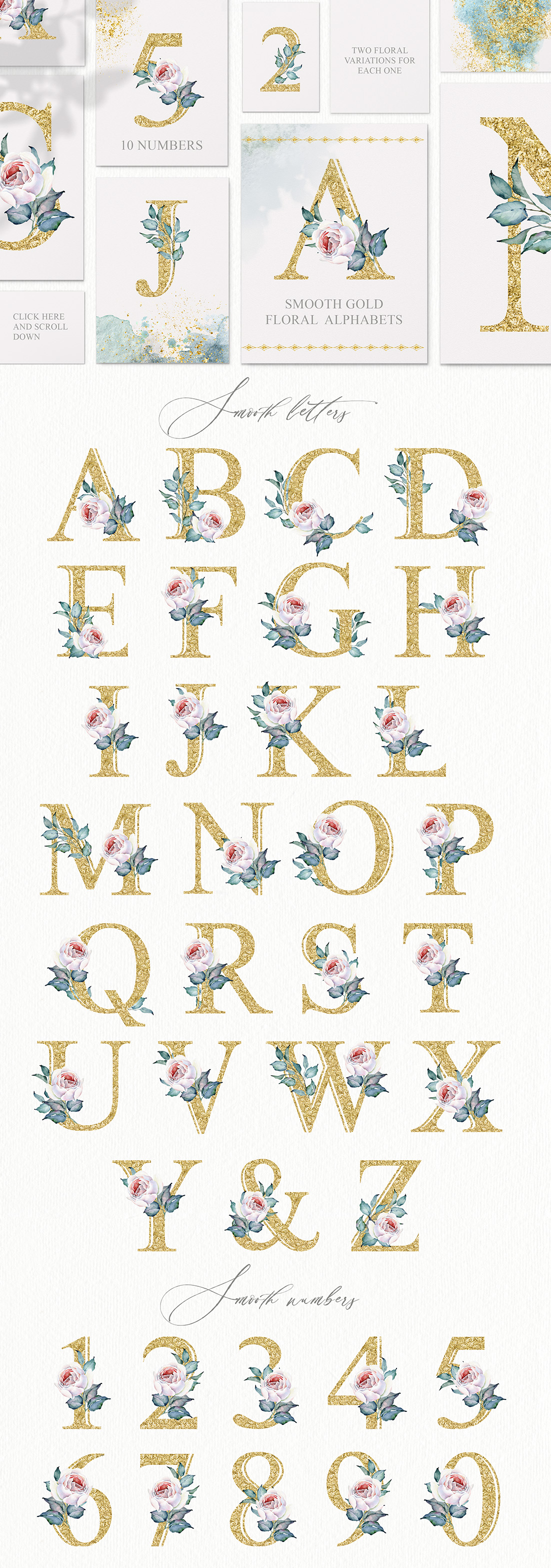 Watercolour Floral Illustrations and Alphabets