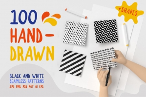 100 Hand Drawn Seamless Patterns