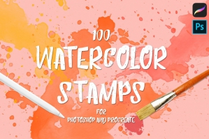 100 Watercolor Stamps