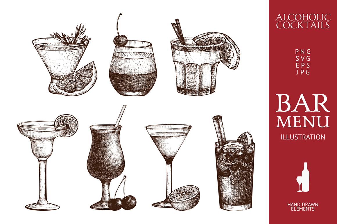 22 Vintage Drinks Illustration