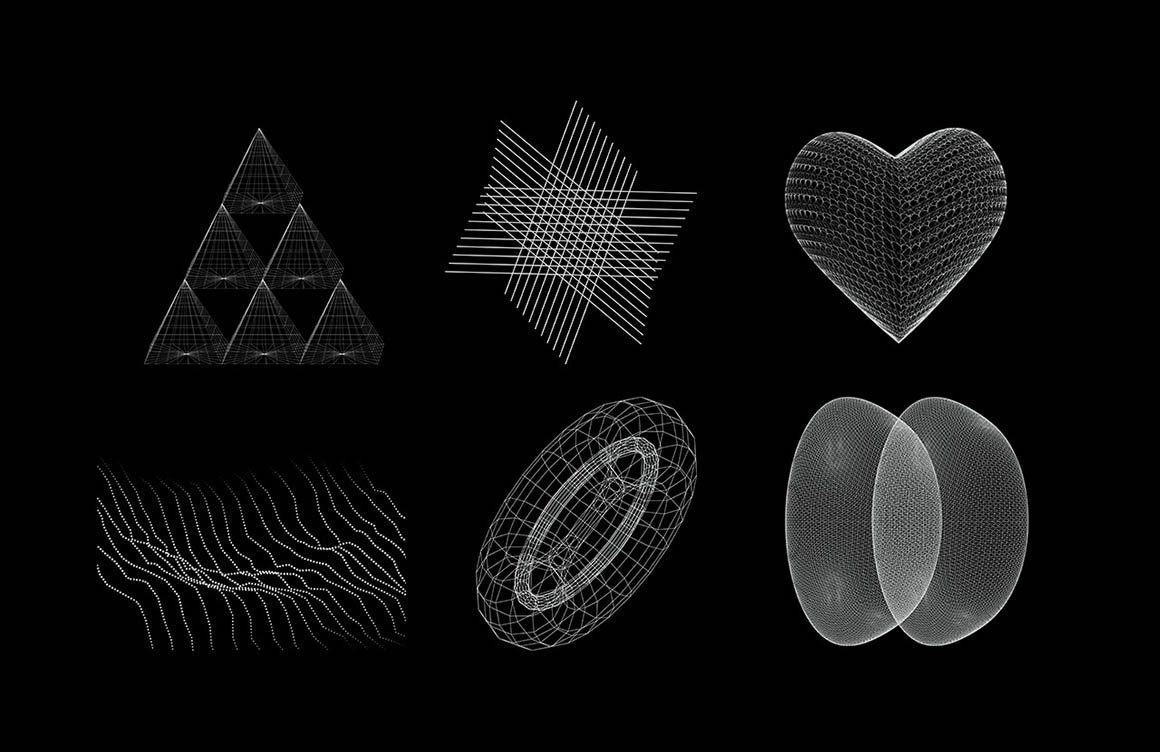 30 Wireframe Vectors Pack