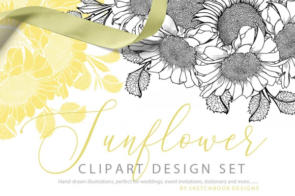 Hand Drawn Sunflower Clipart Set