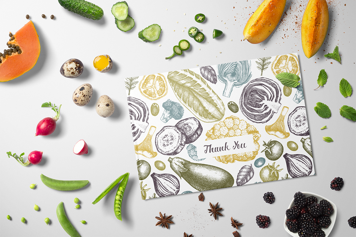 Hand Drawn Vegetables & Spices Set