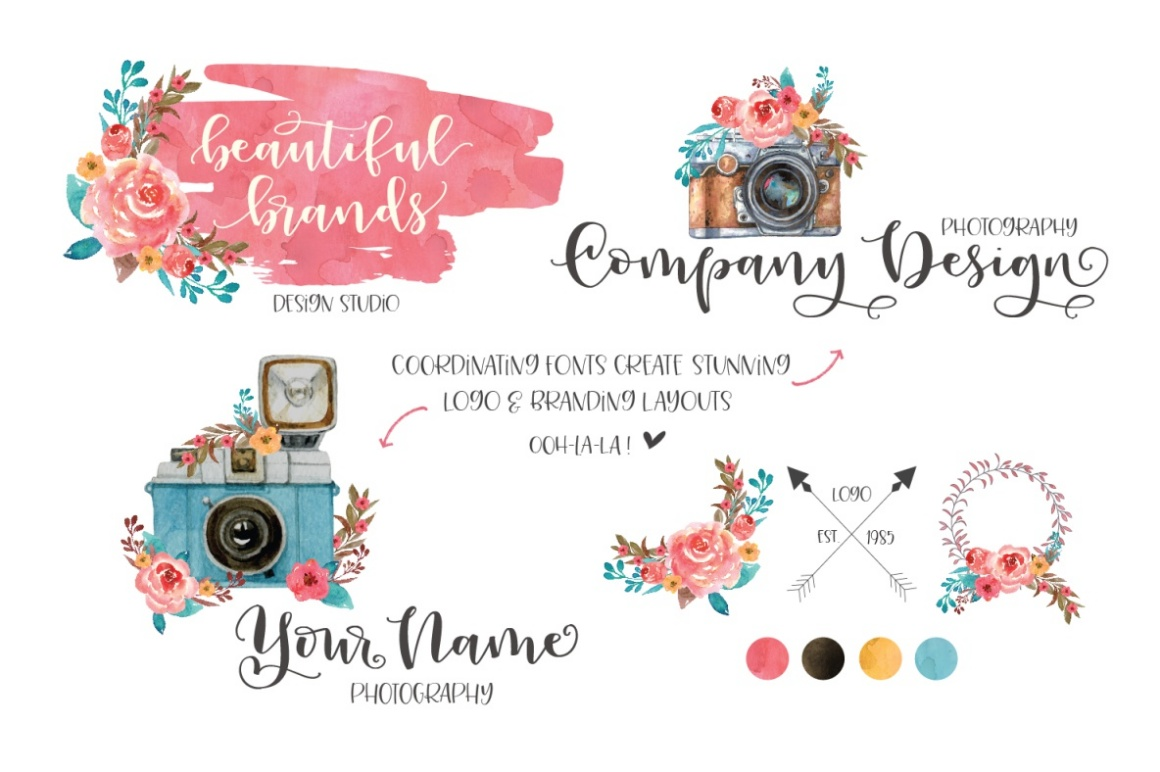Peony Blooms Font Duo