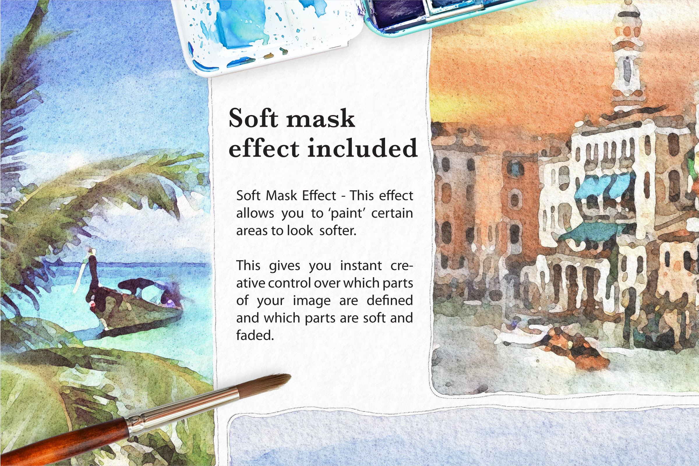 Soft Watercolor Photo Effect Kit for Photoshop - Design Cuts