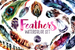 Watercolor Boho Feathers Set