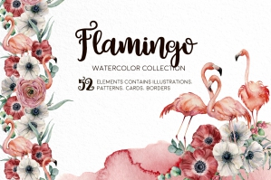 Flamingos - Watercolor Collection