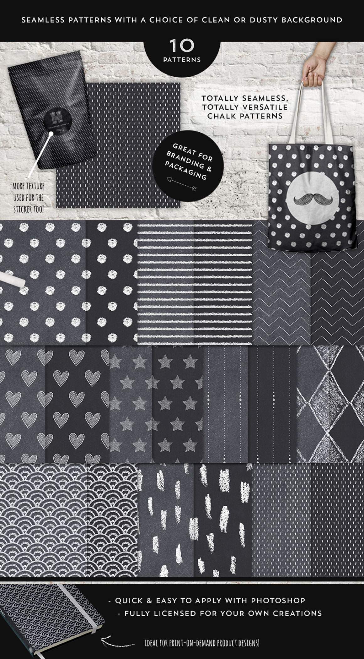 20 Repeating Chalk Patterns Pack