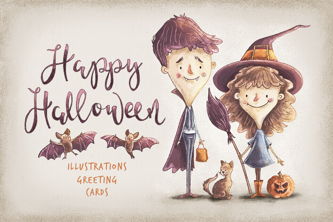 Kids Halloween Characters And Elements