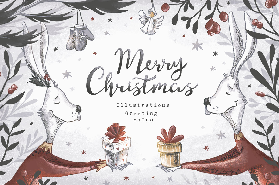 Christmas Illustrations.Vintage Christmas Collection Design Cuts