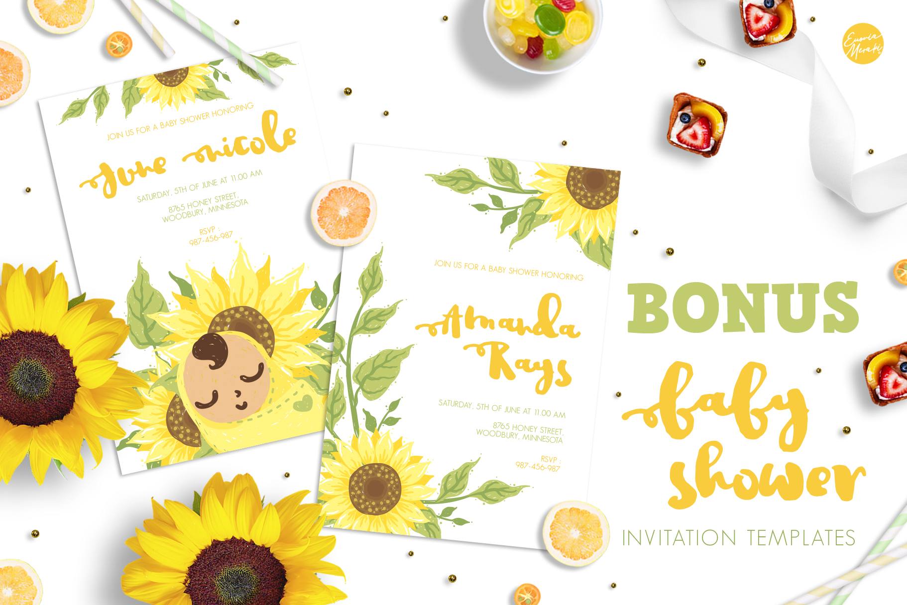 Sunflower Baby Shower With Invitation Templates