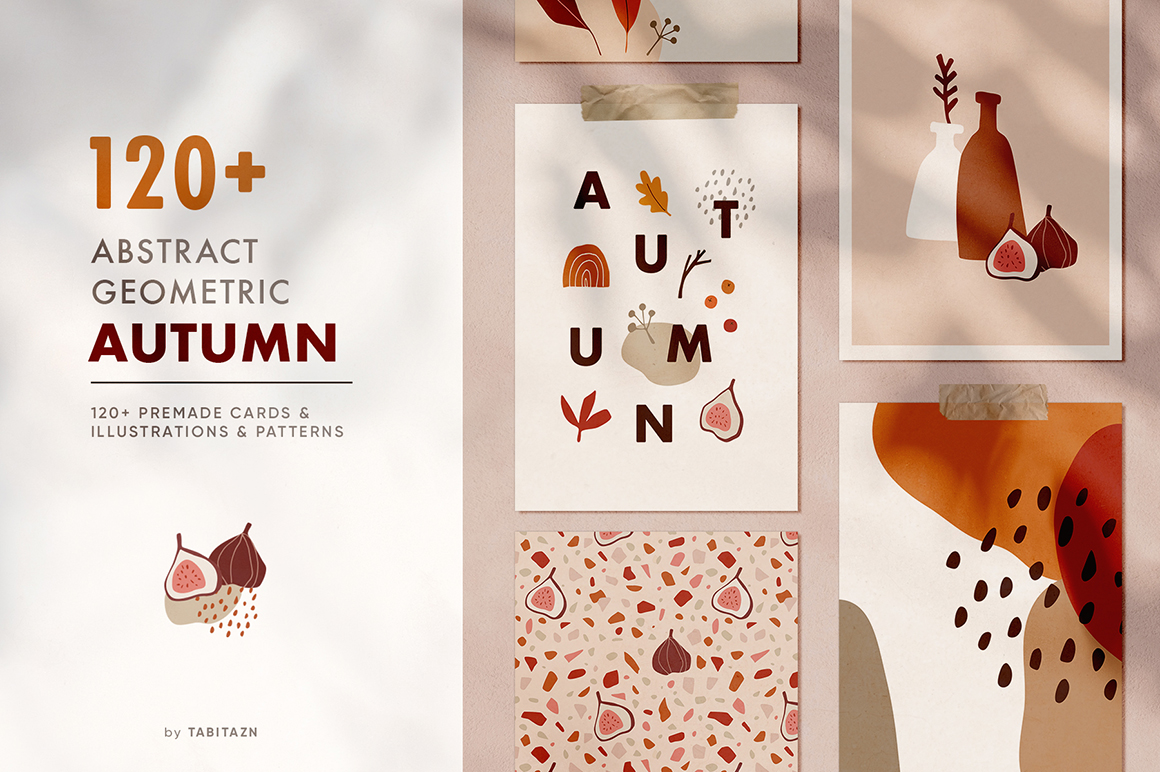 120 Abstract Geometric Autumn Set