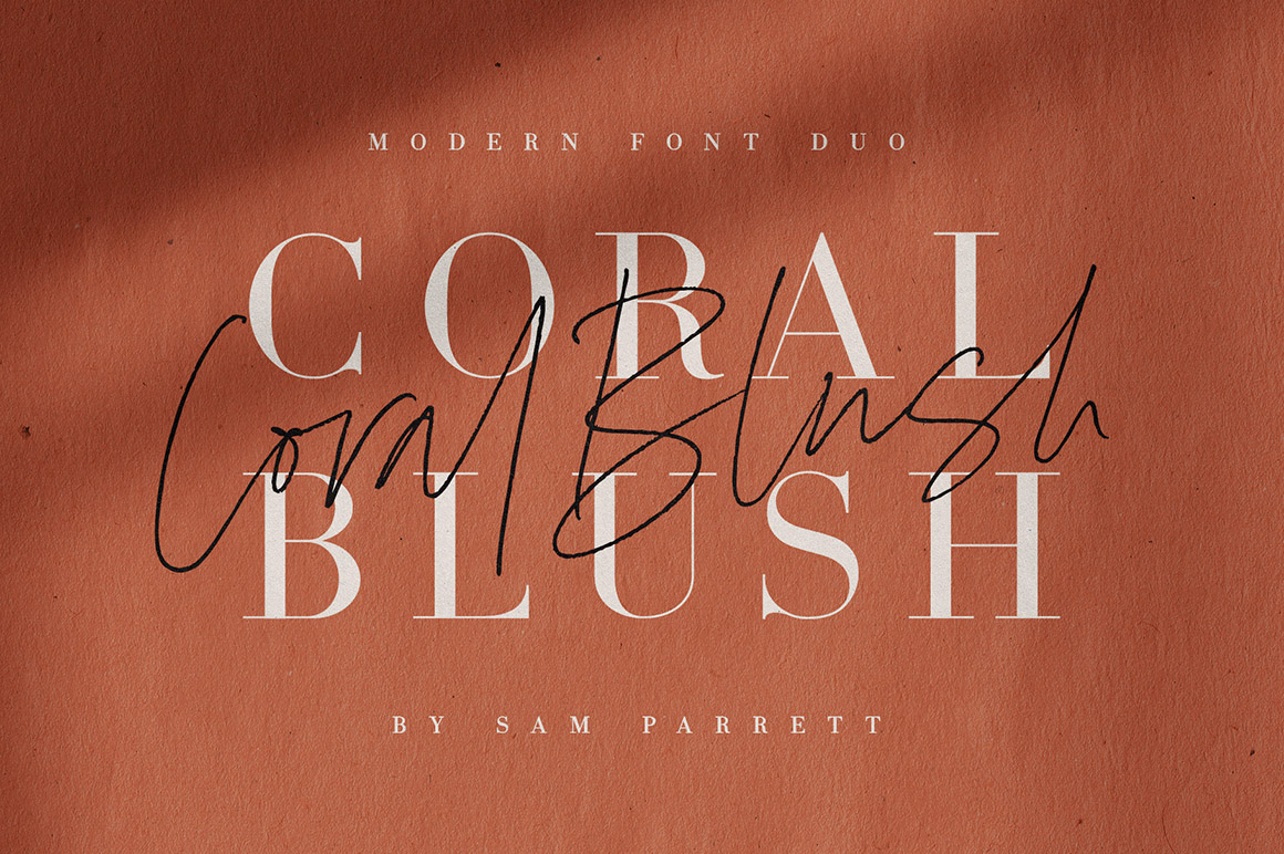 Coral Blush Font Duo + Extras