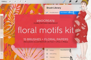 Procreate Brushes Floral Motifs Kit No.1