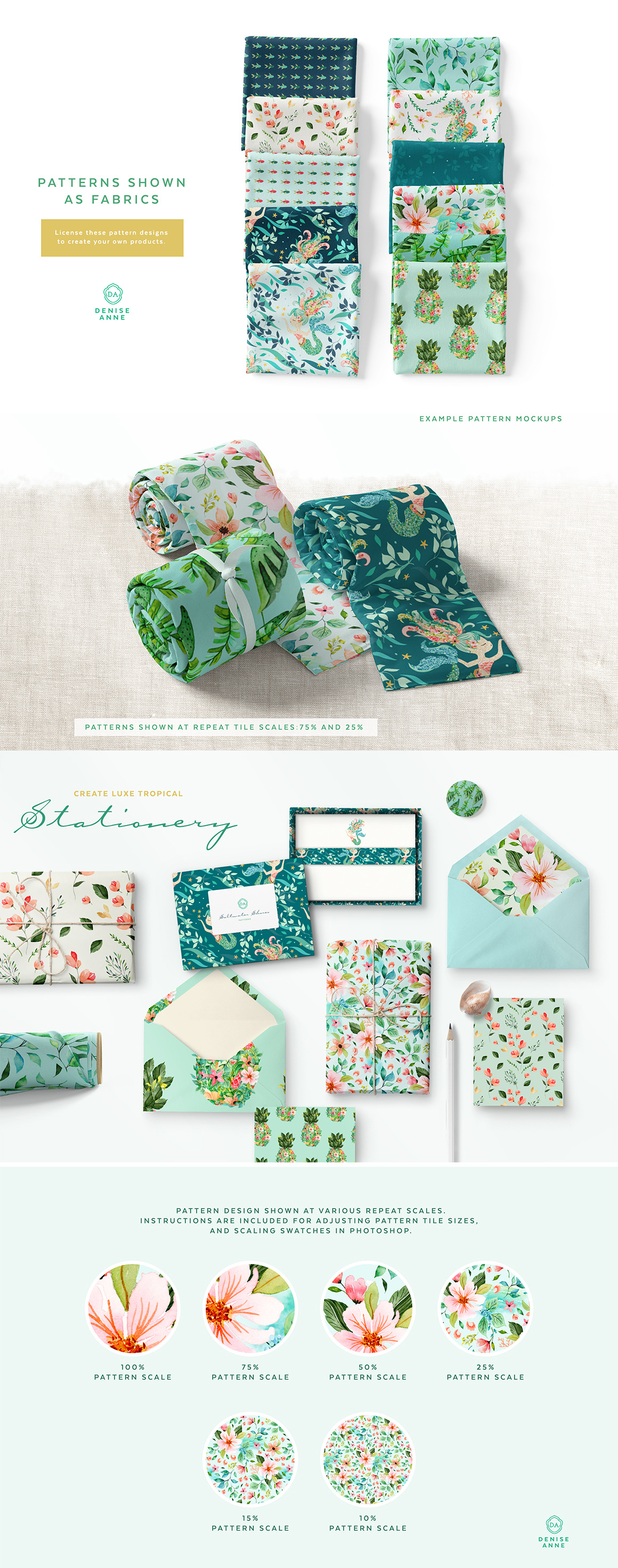 Saltwater Shores Mermaid Floral Pattern Collection