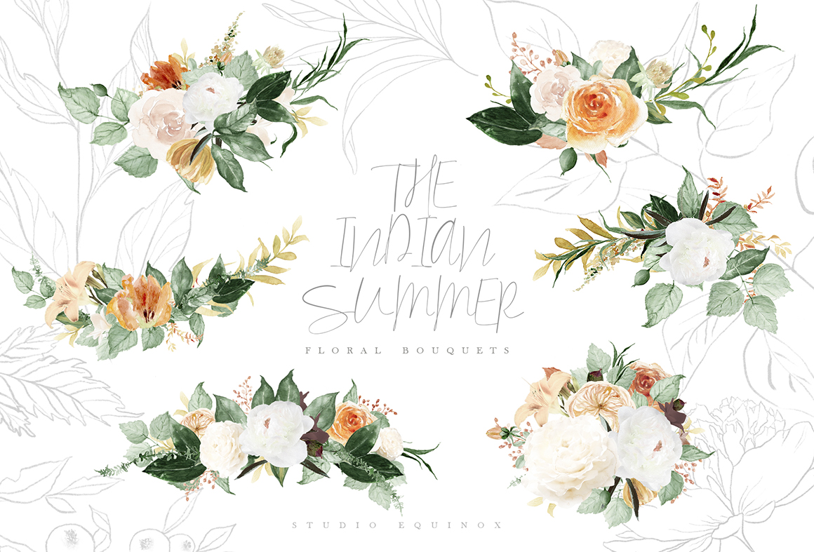 The Indian Summer - Watercolor Autumn Graphic Set
