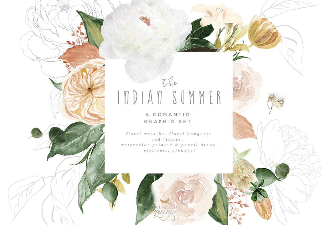 The Indian Summer Watercolor Autumn Graphic Set Design Cuts