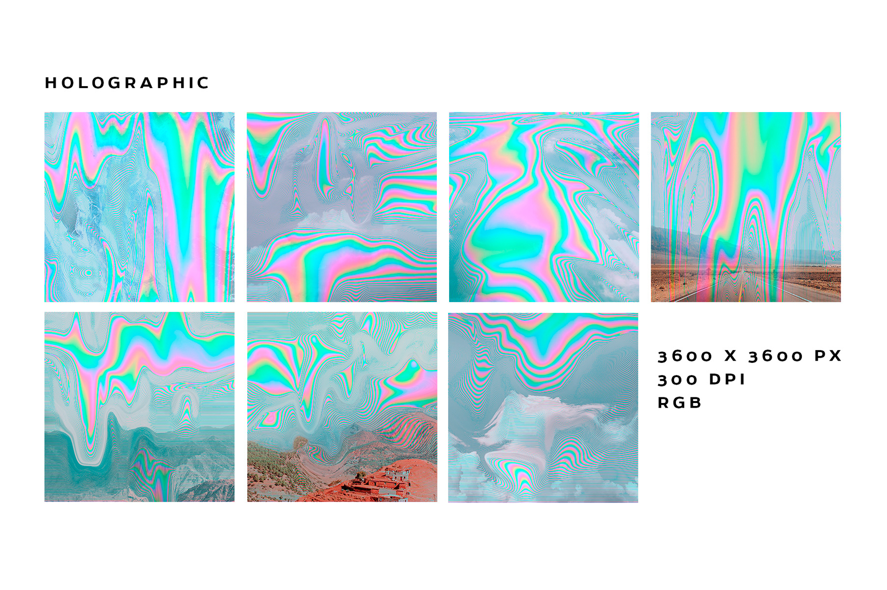 Holographic Glitch Abstract Textures