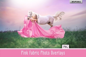 Pink Flying Fabric Photo Overlays