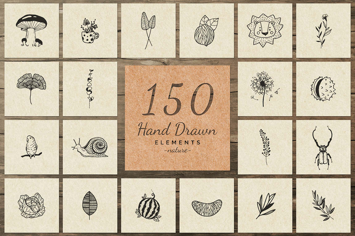 150 Hand Drawn Elements - Nature Vol 3
