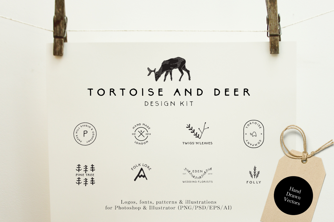 Tortoise and Deer Design Kit Patterns and Fonts