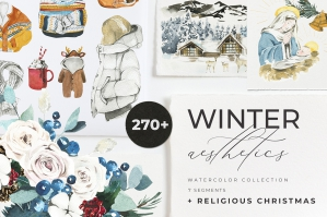 Winter Aesthetics and Religious Christmas Clipart