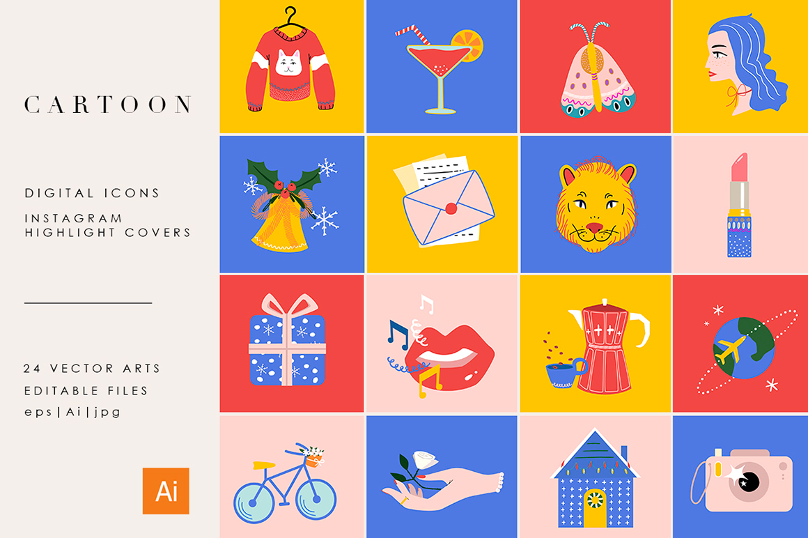 24 Cartoon Highlight Icon Set