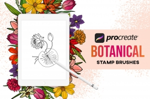 40 Procreate Botanical Stamps