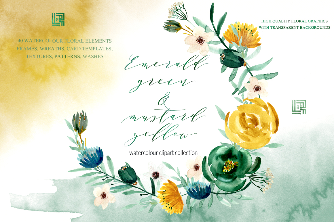 Emerald Green Mustard Yellow Watercolor Flowers Design Cuts