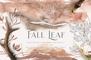 Fall Leaf Watercolor Collection
