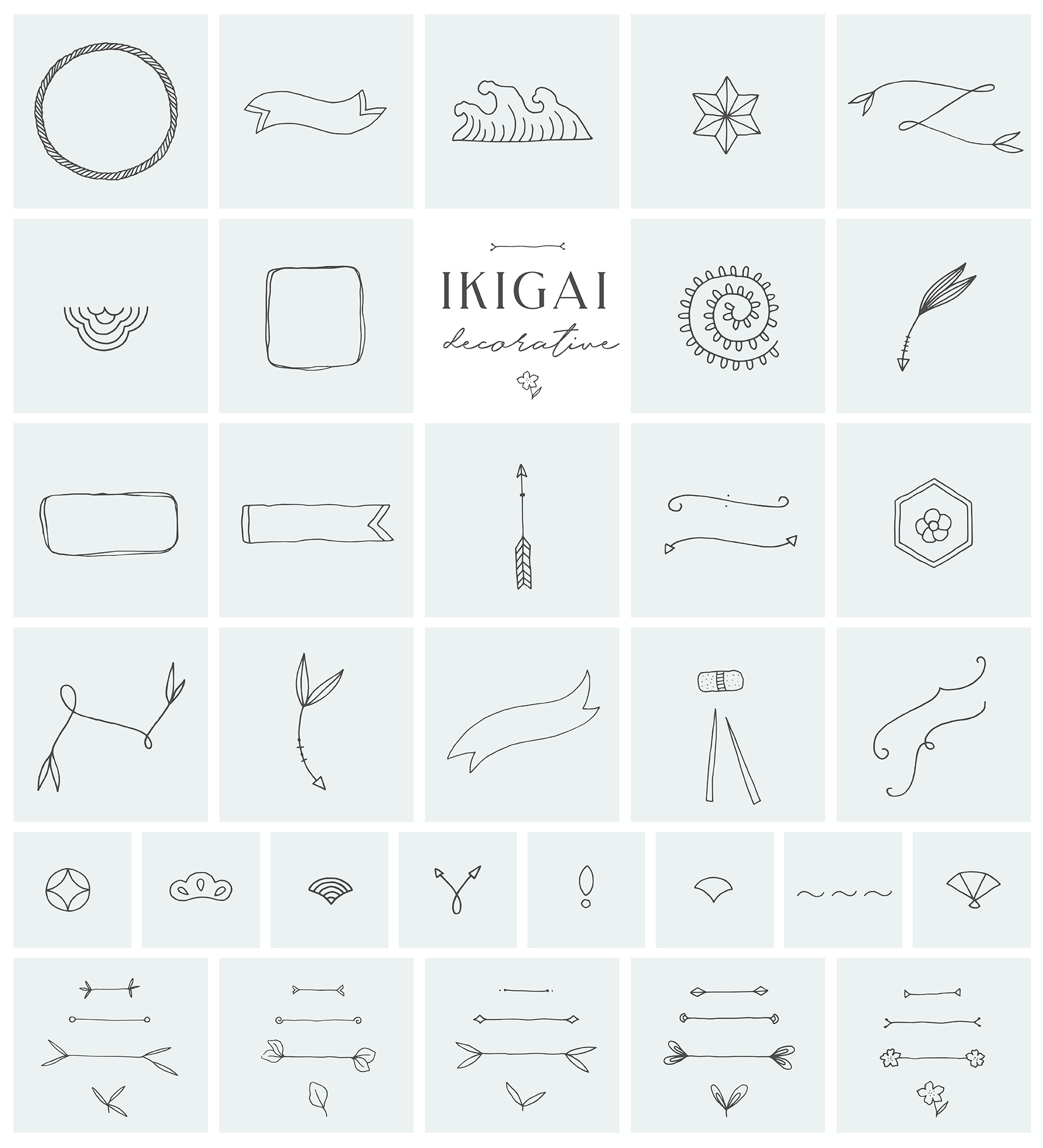 Ikigai Japanese Logo and Branding Collection
