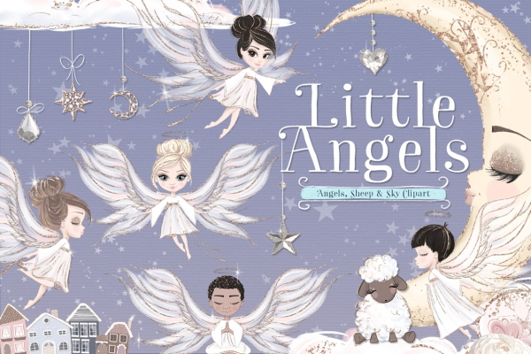 Little Angels Illustration Clipart Kit