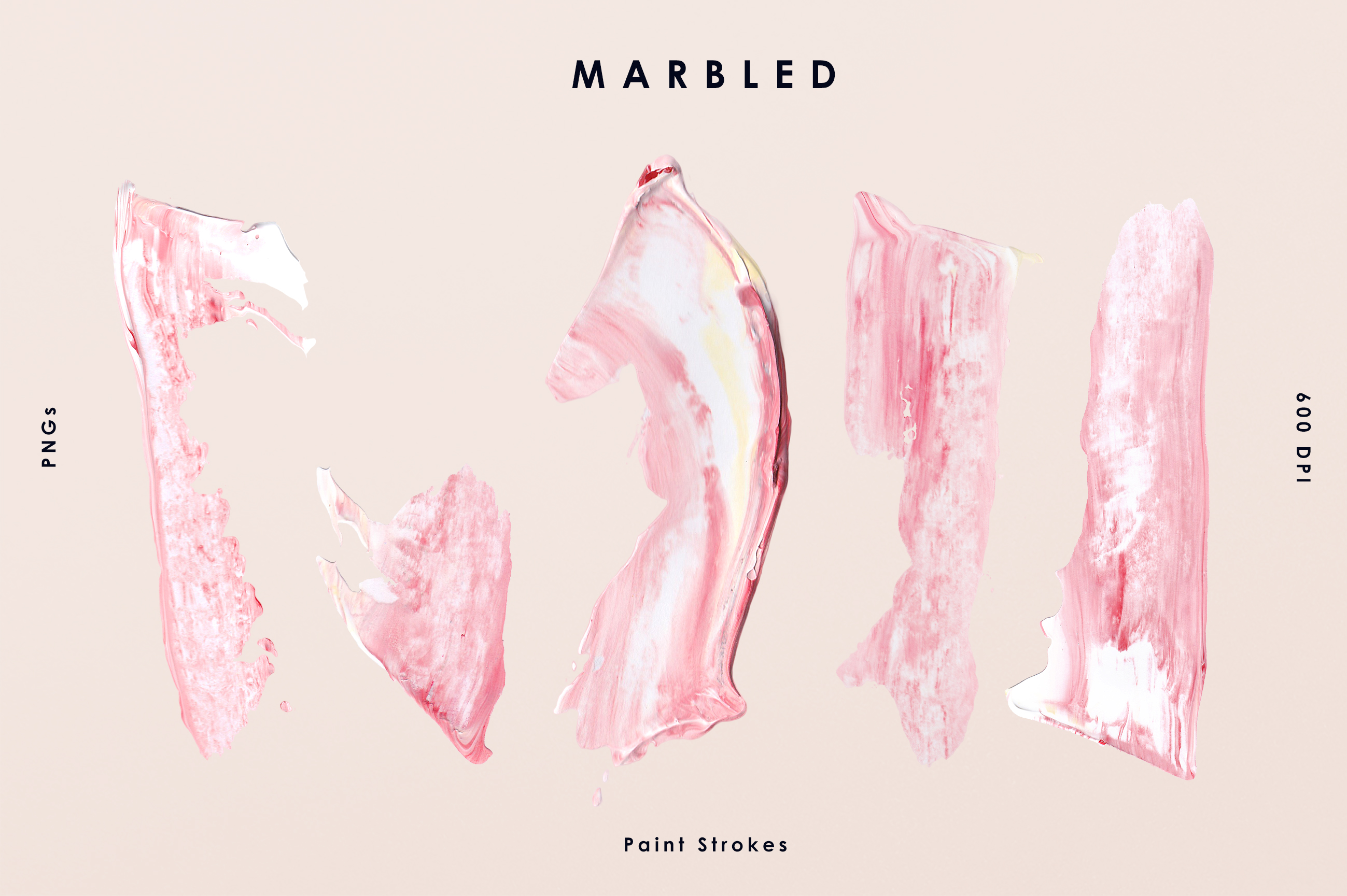 Pink Marbled Paint Strokes
