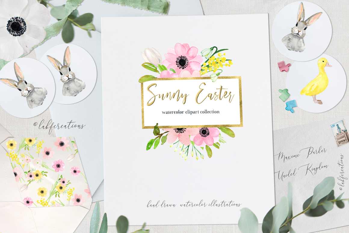 Sunny Easter Bunny Watercolor Floral Clipart