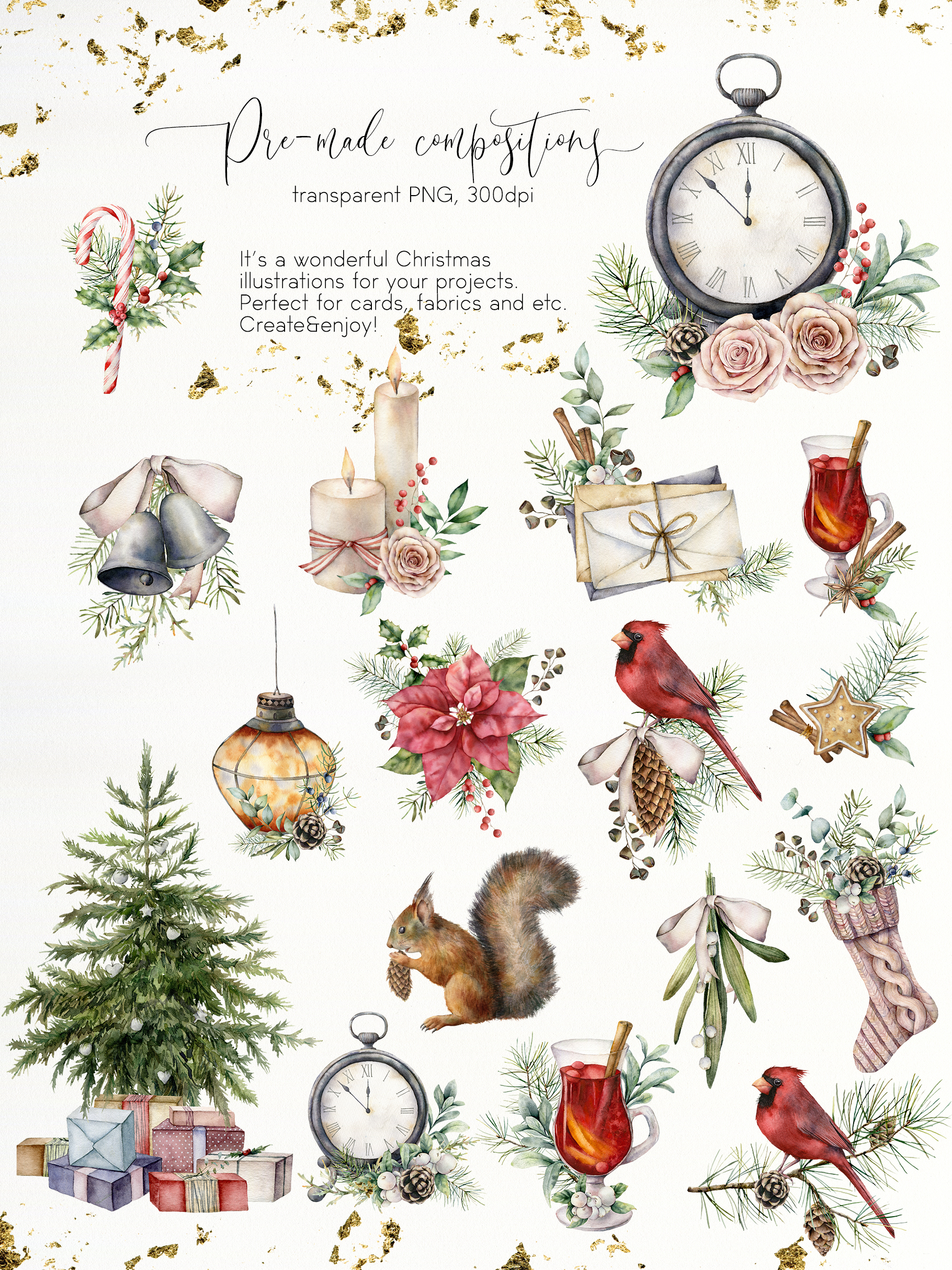 Vintage Christmas Watercolor Bundle
