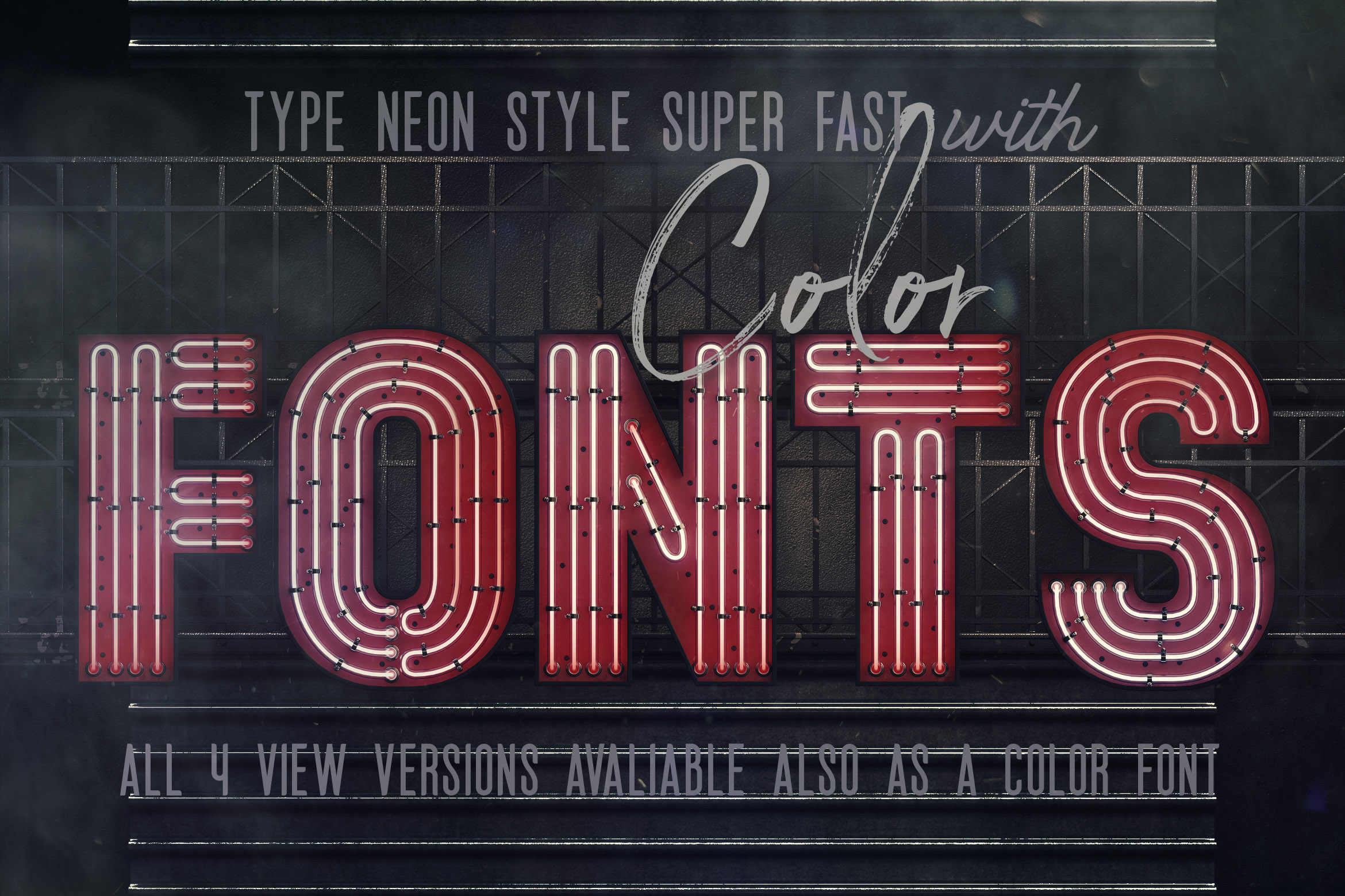 Bold Neon 3D Lettering