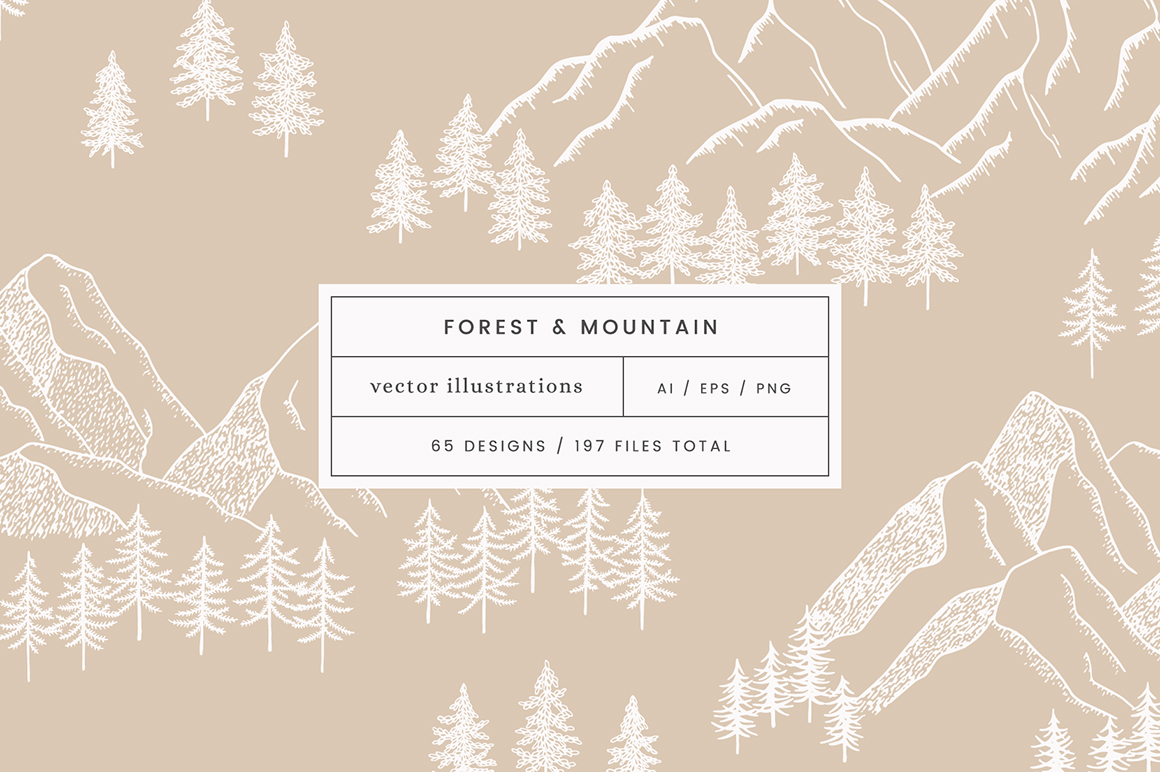 Forest Mountain Vector Illustrations