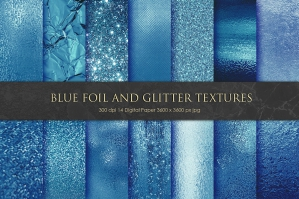 Blue Foil and Glitter Textures