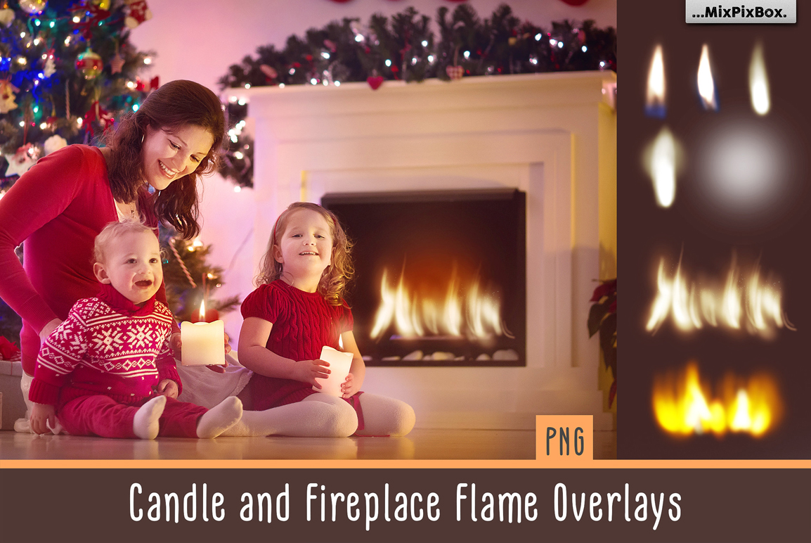 Candle and Fireplace Flame Overlays