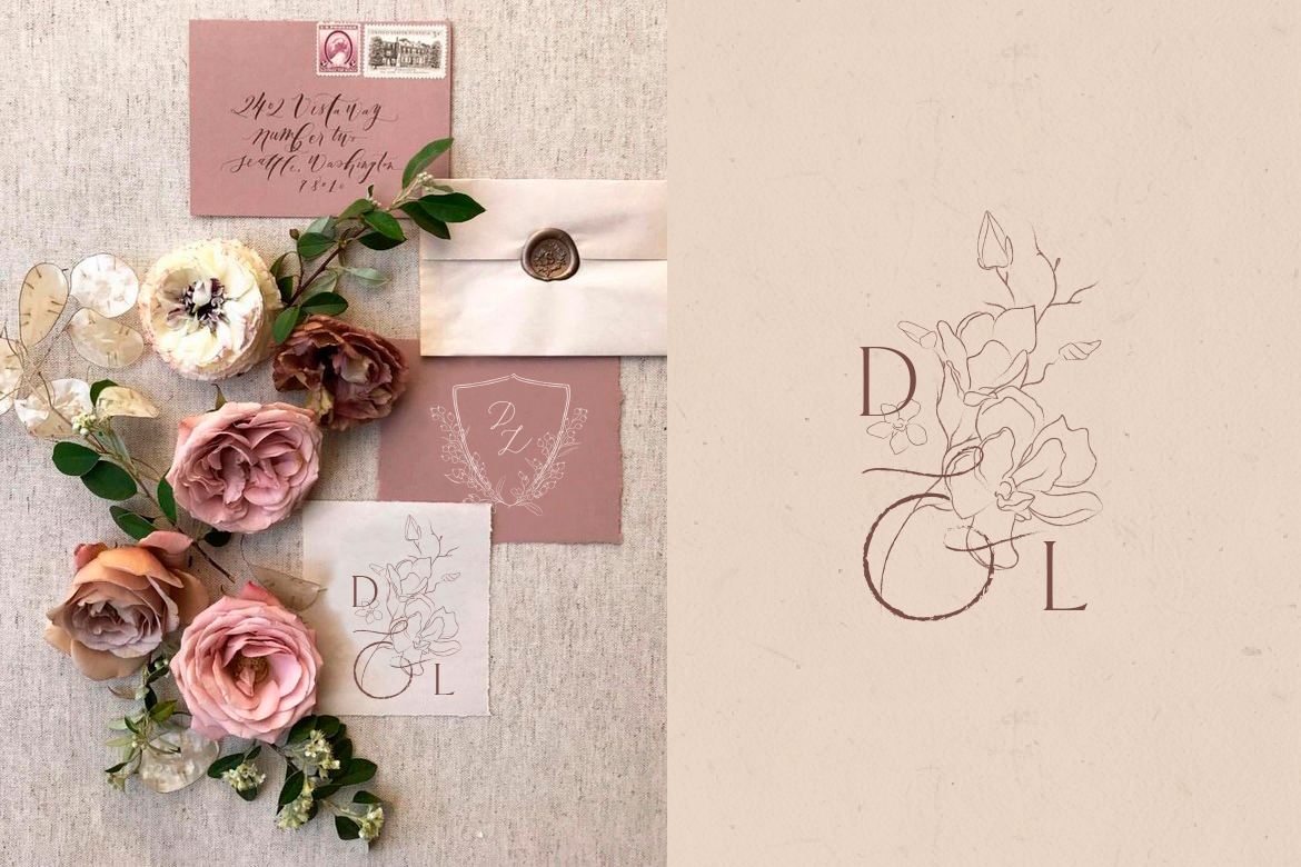 Handwritten Flowered Letters Monograms, Logo