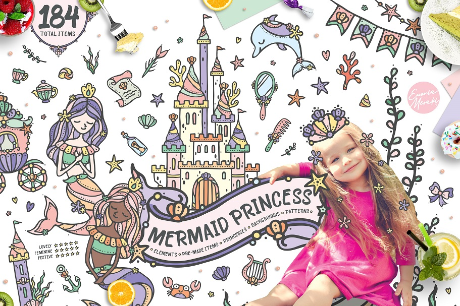 Mermaid Princess - Cute Summer Girl Graphic Set