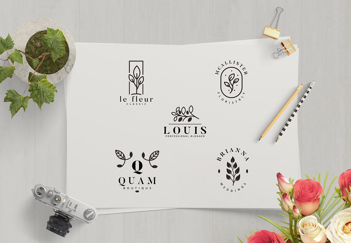 Minimal Leaves Logo Collection