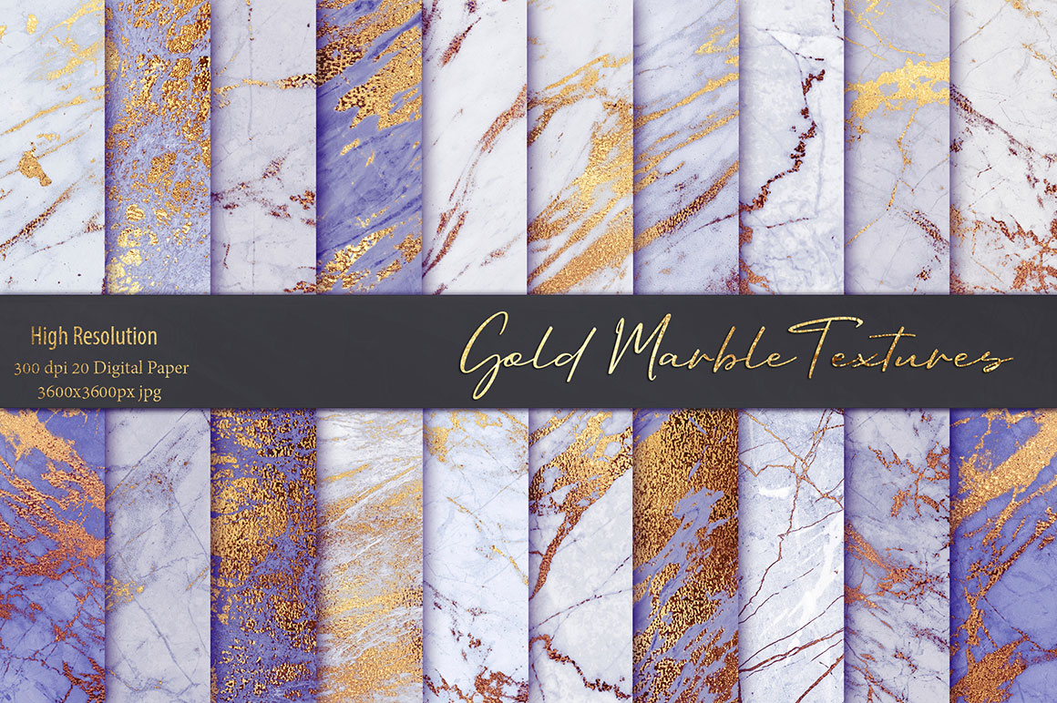 Purple Gold Marble Textures Pack Design Cuts