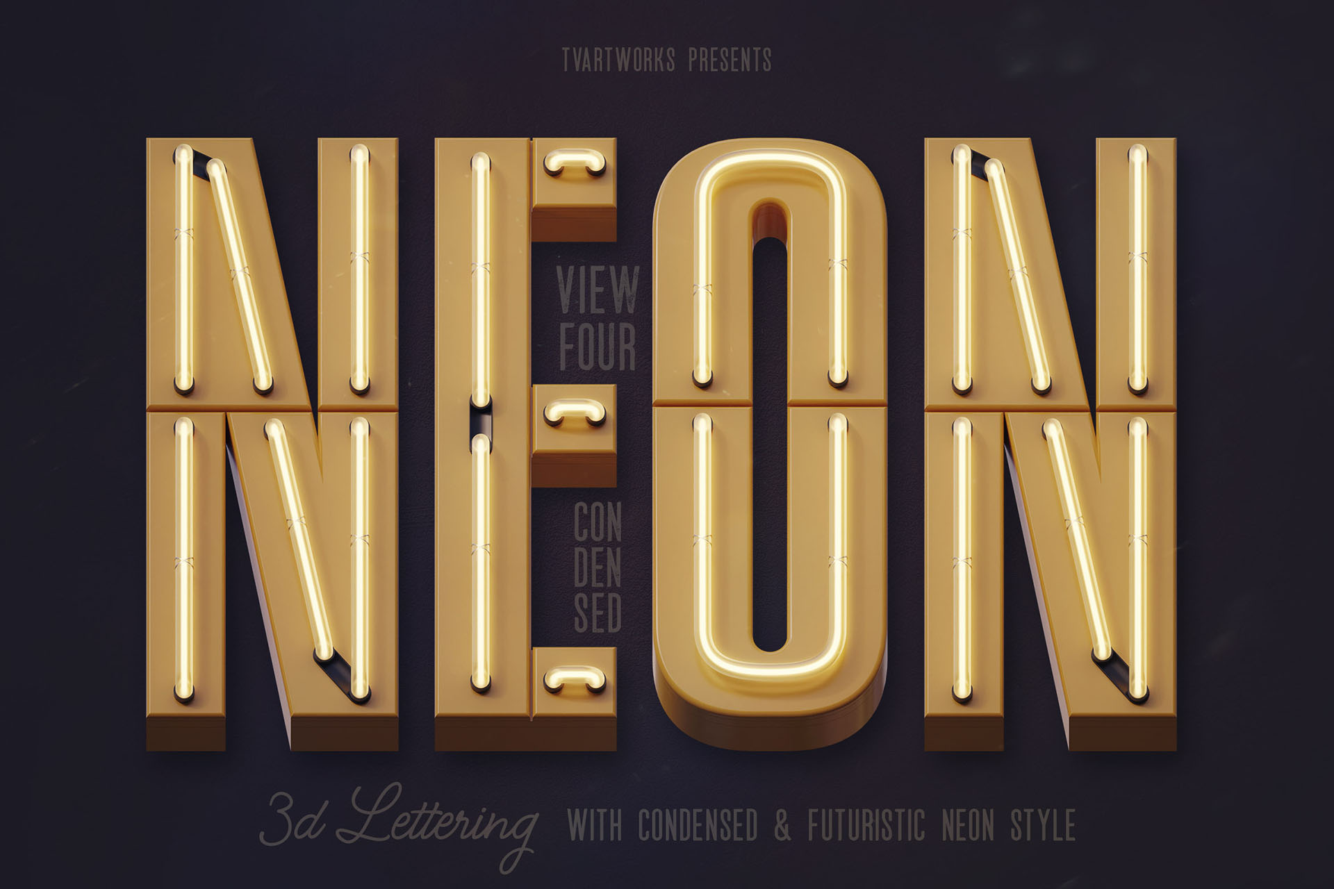 Condensed Neon 3D Lettering