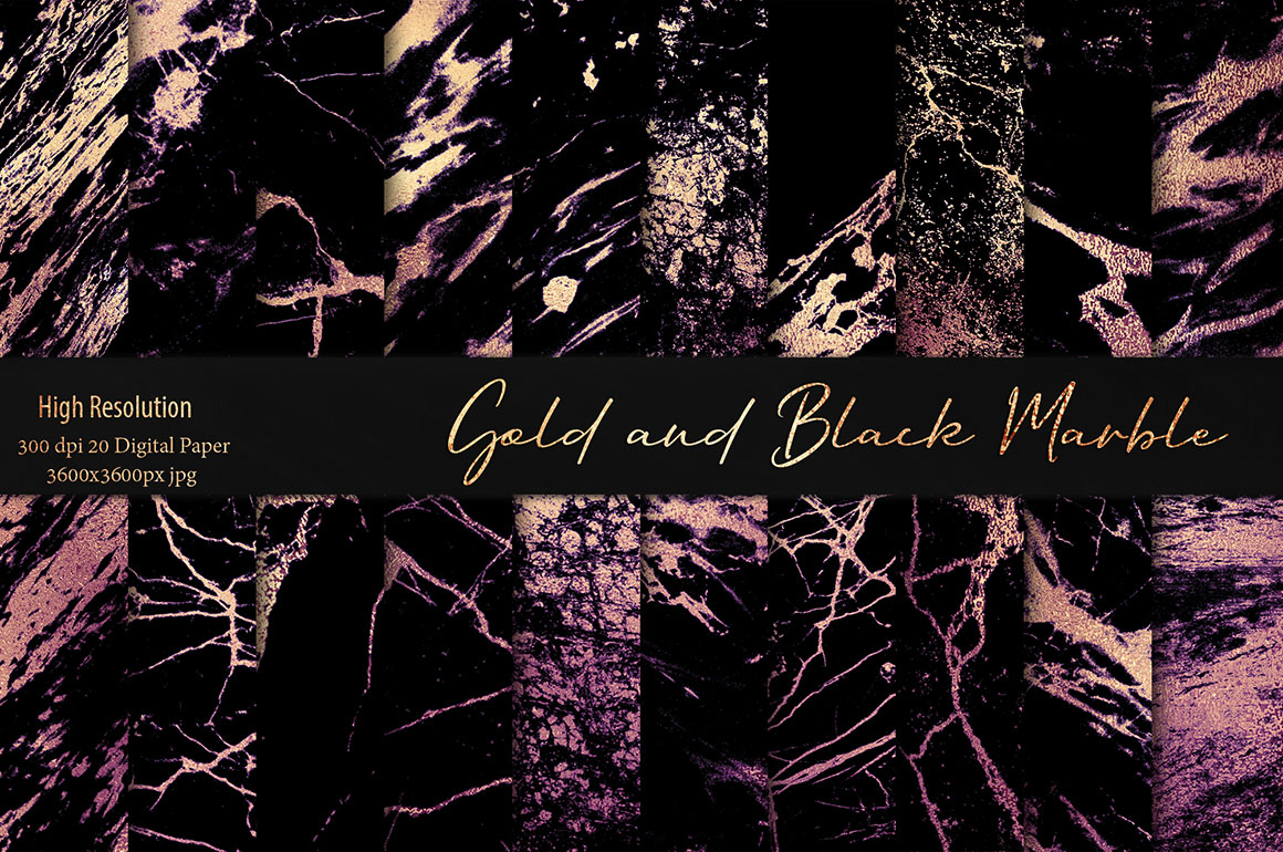 Gold Black Marble Textures Design Cuts