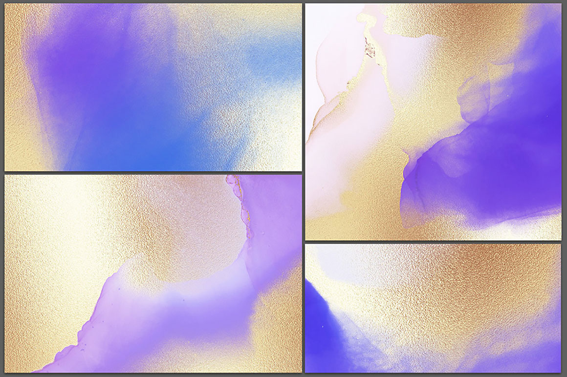 Gold Watercolor and Alcohol Ink Textures