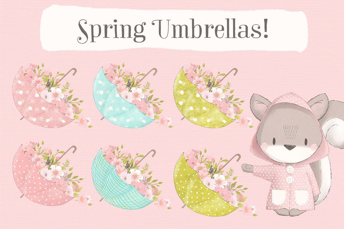 Hello Spring Woodland Animal Clipart Kit